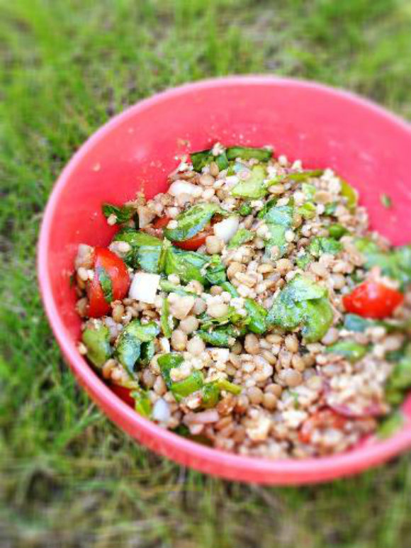 Barley and lentil salad