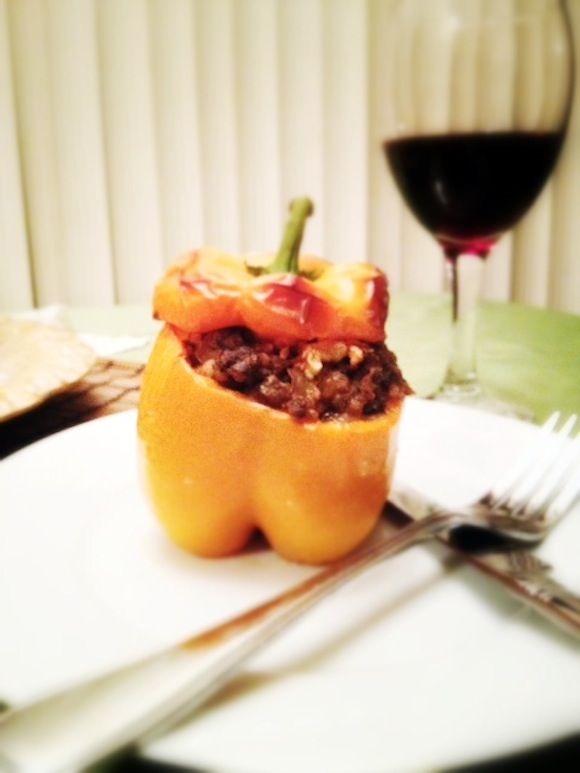 Morrocan lamb and buckwheat stuffed peppers
