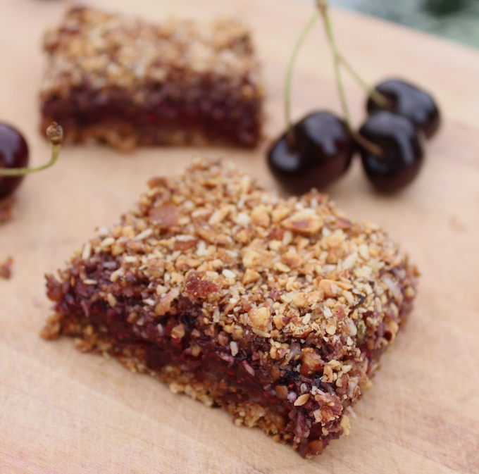 cherry chia crumble bars with medjool dates